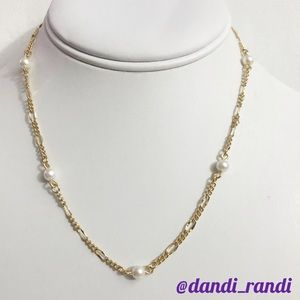 Monet Gold Tone Synthetic Pearl Necklace NWT